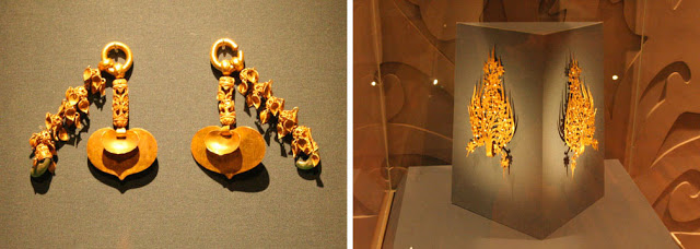Golden artifacts including earings and crowns retrieved from the excavation of the royal tombs near Gonju-si, Republic of Korea. The objects are on display in a museum.