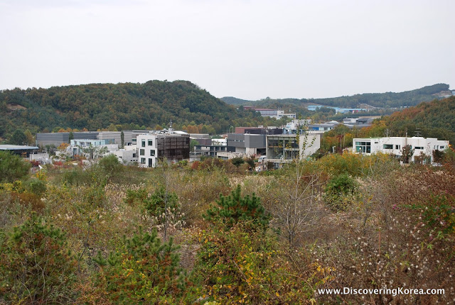A view overlooking the completed buildings at Heyri Artists Village in Paju Korea.