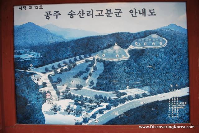 A map of the Songsanri Tombs of Gongju, Chungcheong province, Korea.