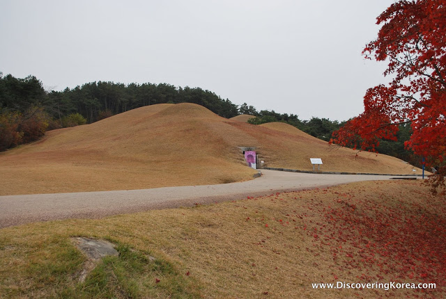 A larged mounded tomb set in the hill side in Gongju-si, South Korea.