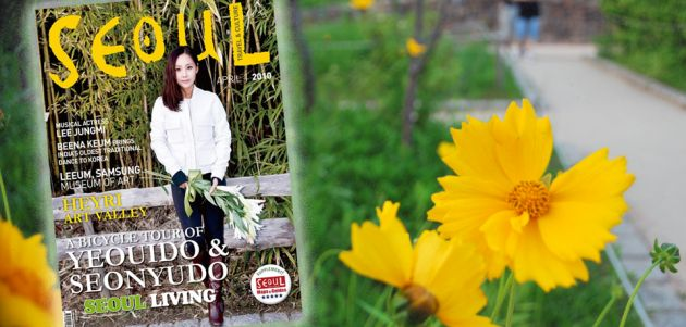 To the left of the frame, a magazine with a woman holding flowers on the cover, on the left a yellow flower with a gravel path and vegetation in soft focus behind it.
