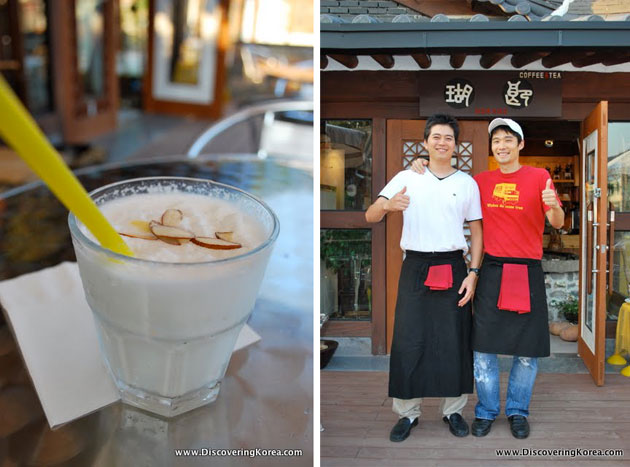 Two pictures, to the left is a glass with a white smoothie, with a yellow straw on a wooden surface, to the right are two men standing outside a cafe giving a thumbs up sign.