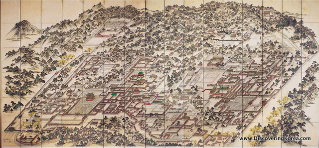 A painted map showing Changdeokgung Palace, and the surroundings.