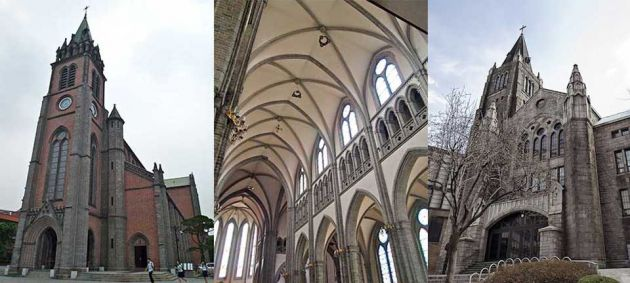 Three images side by side from the left, a tall brick church with a steeple and clock tower, middle is the vaulted ceiling inside the cathedral, and on the right is the outside of a cathedral.