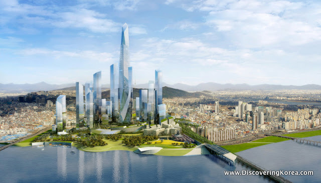 A computer generated image of an architect's impression of Yongsan after regeneration. Skyscrapers in the center of the frame, to the front is a river, with two bridges, and in the background a cityscape, with mountains behind, and blue sky.