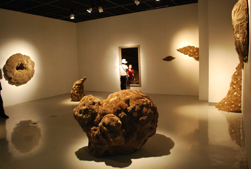A darkened, spot-lit room contains an exhibit of dark brown rocks, on the wall and on the floor.