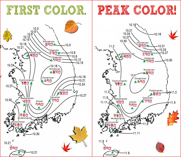 Two side by side maps of Korea showing the areas to see autumnal colors.