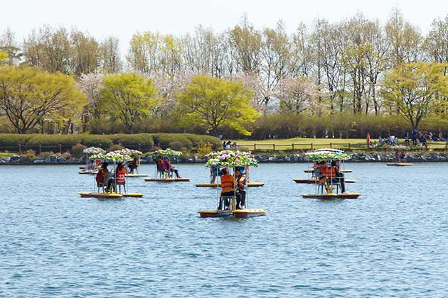 A lake surrounded by trees, lawns and bushes, with little flower boats, each a raft with space for two people to sit, and an umbrella of fresh flowers.