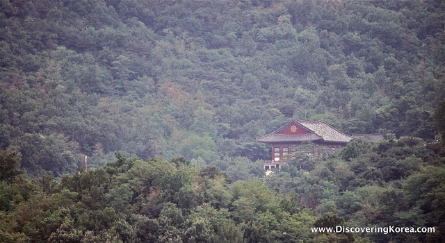 Buddhist temple surrounded by forest, a brown building.