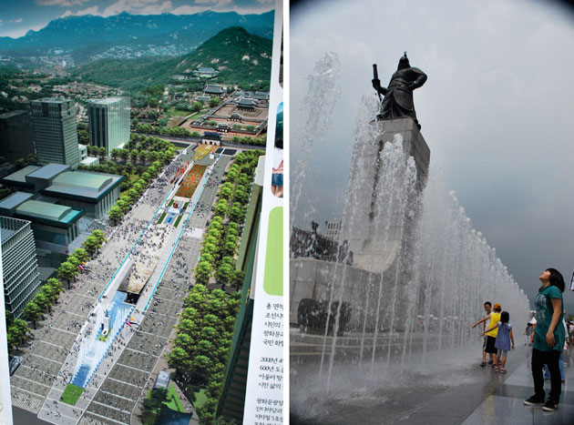 Two images side by side. On the left is an artist's impression of the renovated Gwanghwamun area in Seoul, with green spaces, water features and walkways, against a backdrop of a mountain. On the right is a large statue on a high plinth, with a water fountain and children playing in it.