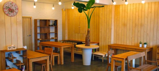Tables and chairs in a room with slatted walls, a large plant in the center at Hongdae furniture street.