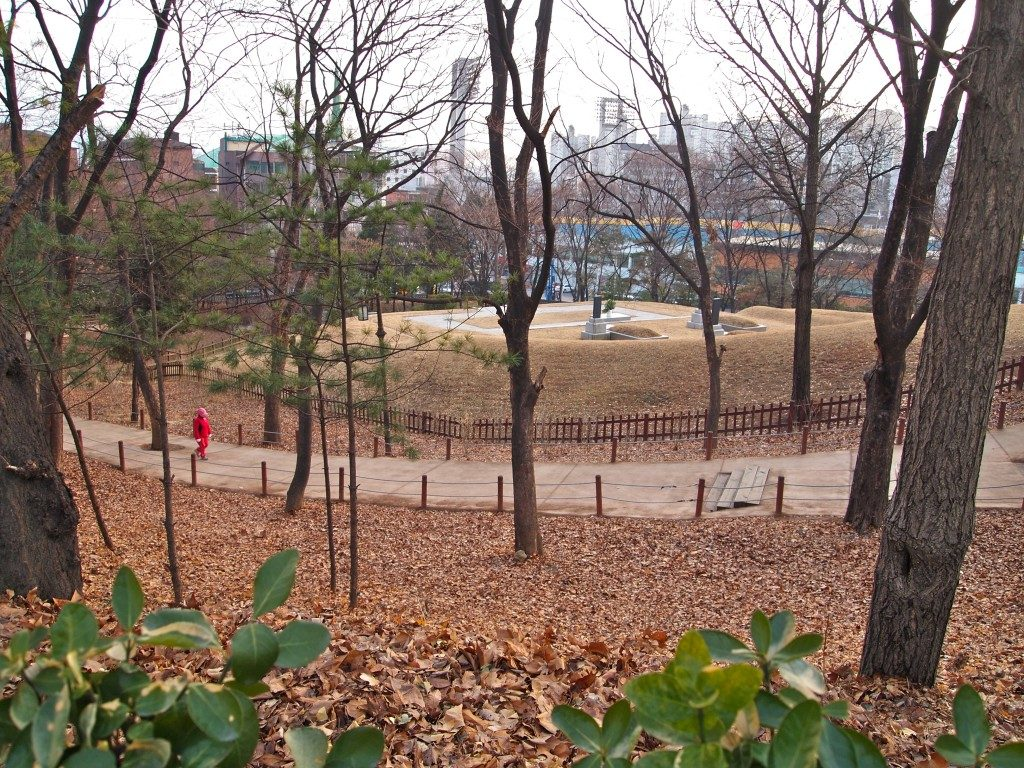 A view of Hyochang Park, with a pedestrian walkway, trees, and fallen leaves on the ground, with Seoul city buildings in the background.