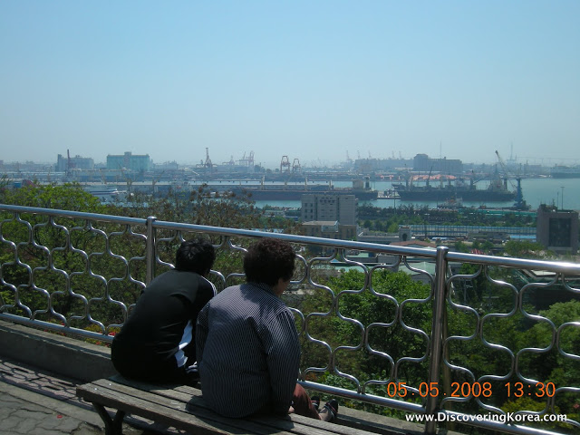 Two people sitting on a bench with a view of Incheon harbour, from Jayu park. A metal fence is in front of them, and vegetation in the middle of the frame.