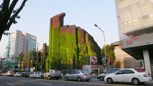 An unusual red brick building with green climbing vegetation covering it. The Kyungdong church in Seoul, in between concrete buildings either side, with parked cars on the side of the road in front of the church.