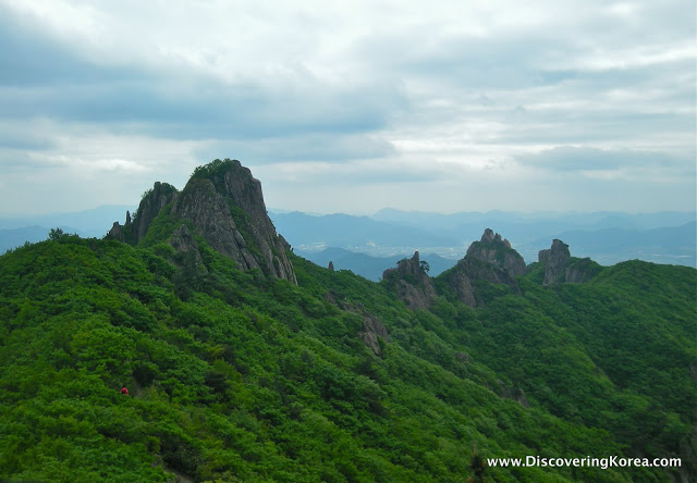 Large mountain peaks jutting out of thick vegetation on the slopes, at Wolchulsan National Park, the background is soft focus landscape and a cloudy sky.