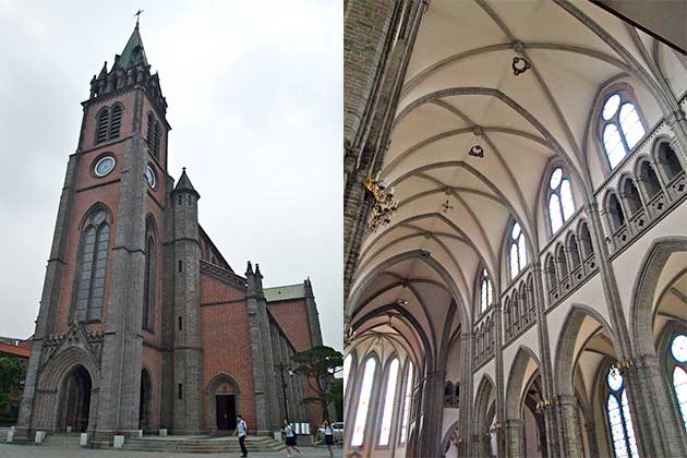Two images side by side: external view of Myeongdong Cathedral in Seoul, an imposing brick and stone building with tall spire, an arched doorway and various pillars. To the right is the interior, showing the vaulted ceiling and traditionally shaped arched windows.