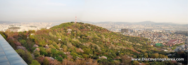 View from the observatory at N Seoul tower, over the hill to Seoul city.