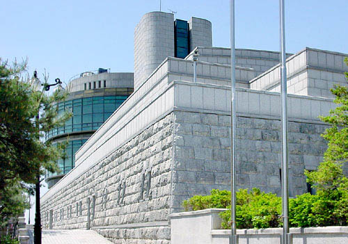 White stone building, the outside of the Odusan Observatory in the DMZ.