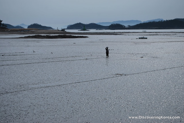 A soft focus view of a low tide beach, with a small fishing boat and a person walking.