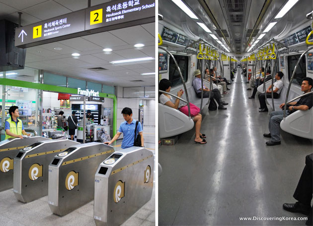 Two images side by side, the left one showing the retractable barriers at the entrance to Seoul's new metro line, with a passenger, in the background is a shop front and at the top of the frame are signs in both Korean and English.