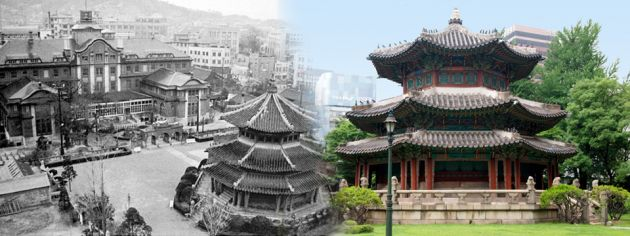 Side by side images, to the left is a black and white historical picture showing the Wongudan Altar opposite a large building with the city in the background. On the right is a modern picture showing it as a three story building, with traditional Korean roofing, red pillars and stone steps going up, with grass in the foreground and blue sky behind.