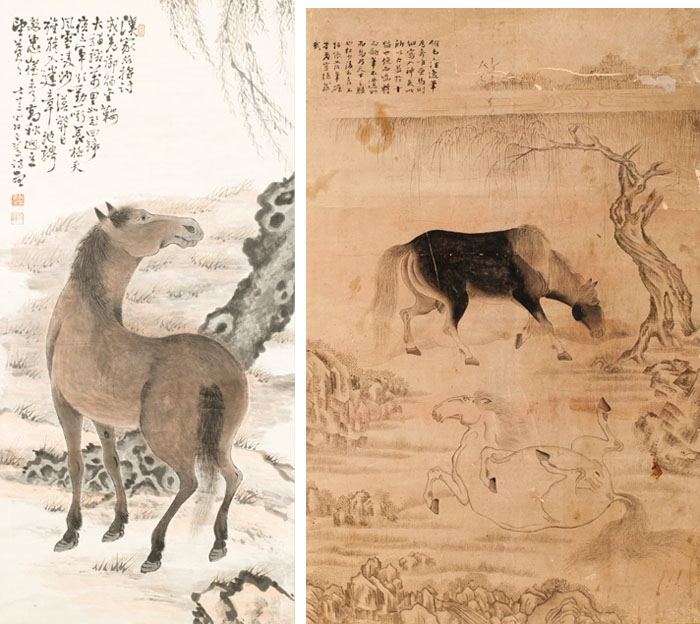 Illustrations from a Korean book, of a horse by a tree trunk and on the right two horses, a dark colored one grazing and a light colored one rolling, with a tree in the background.