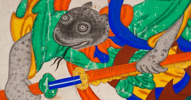 A painting of a mythical snake-like creature, mottled gray in color, wearing green, yellow, red and blue robes and brandishing a sword.