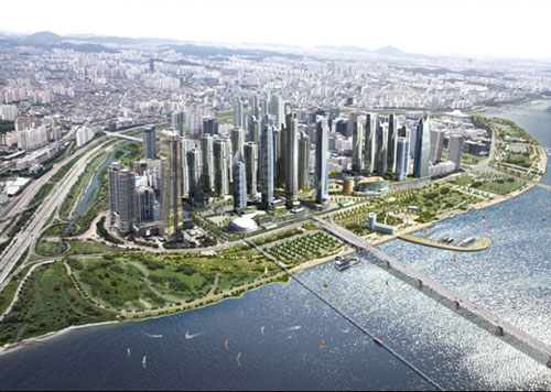 An artist's impression of Yeouido island in the future, showing a bridge from the right over a river, and a large green space with skyscrapers behind.