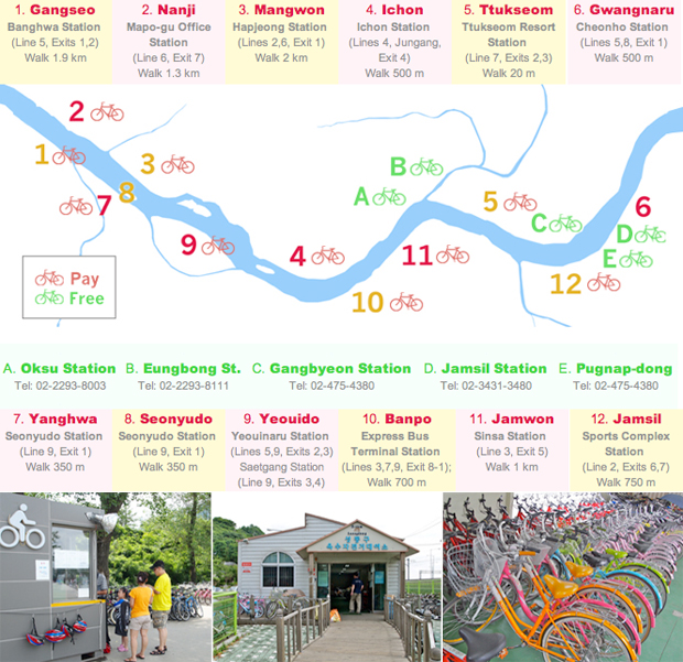 A map of the Hangang River in Seoul showing bike rental locations and subway exists.