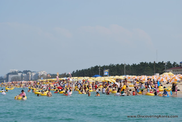Crowds of people seen in the blue sea with yellow inflatables, and on the beach yellow and orange sun umbrellas. In the background is trees and some buildings with a blue sky.