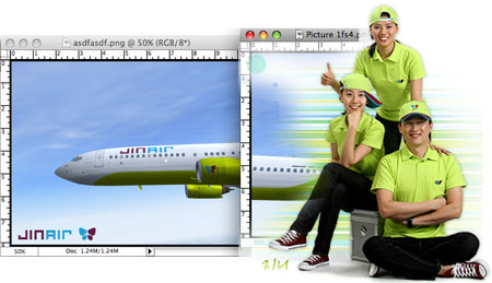 A collage of three pictures taken from a computer screen, to the left is the nose of a Jin air plane with a blue sky background, in the center is the rear part of the plane partly obscured by green and white stripes. On the right are three people dressed in black pants, sneakers, and bright green t shirts.