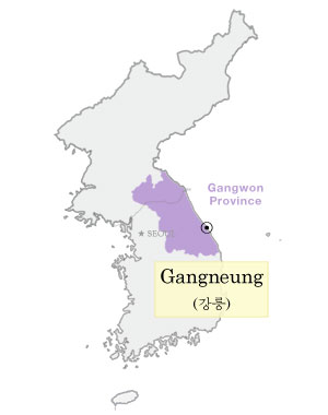 An outline of a map of Korea showing Gangwon province shaded in light purple.